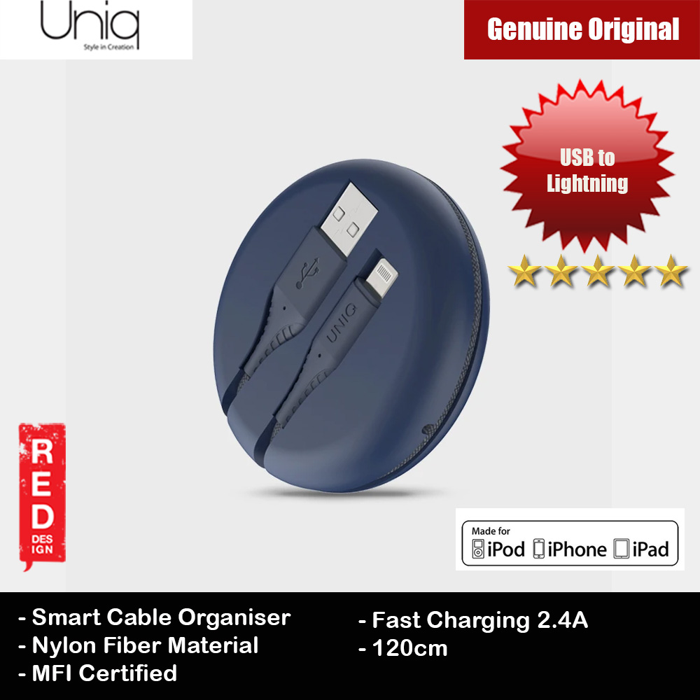 Picture of Uniq Halo 120cm Fast Charge Lightning Cable with Organiser (Blue) Red Design- Red Design Cases, Red Design Covers, iPad Cases and a wide selection of Red Design Accessories in Malaysia, Sabah, Sarawak and Singapore