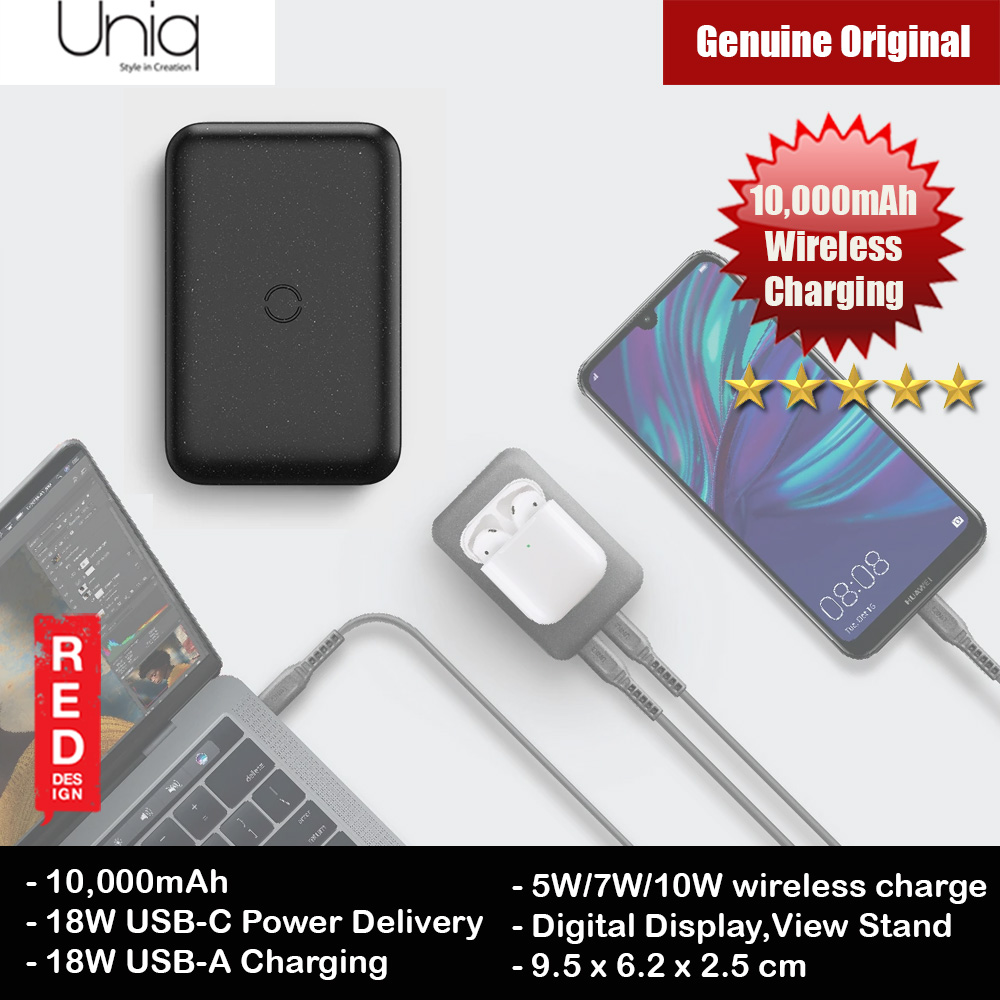 Picture of Uniq Hyde Air 18W Power Delivery Fast Charge Wireless Power Bank with Type C Fast Charge Input Output for iPhone iPad Airpods Airpods Pro (Black) Red Design- Red Design Cases, Red Design Covers, iPad Cases and a wide selection of Red Design Accessories in Malaysia, Sabah, Sarawak and Singapore