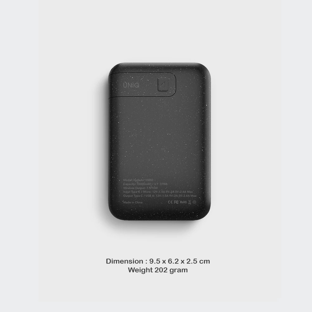 Picture of Uniq Hyde Air 18W Power Delivery Fast Charge Wireless Power Bank with Type C Fast Charge Input Output for iPhone iPad Airpods Airpods Pro (Black)