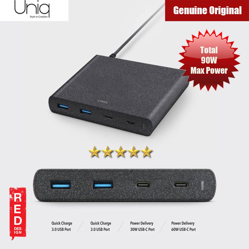 Picture of Uniq 90W Max Power Surge 4 Port Rapid Fast Charging Station USB C Power Delivery for Macbook iPhone iPad Red Design- Red Design Cases, Red Design Covers, iPad Cases and a wide selection of Red Design Accessories in Malaysia, Sabah, Sarawak and Singapore