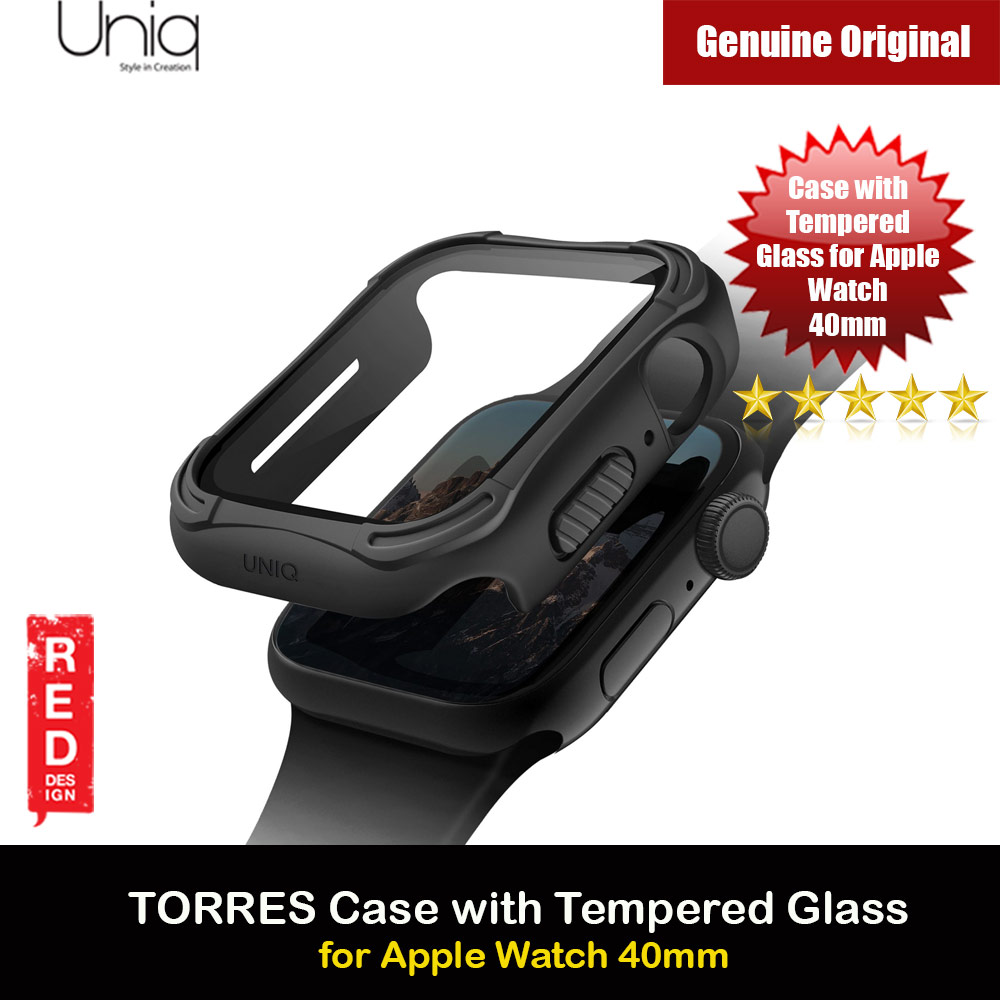 Picture of Uniq Torres Ultra Tough Hybrid Series Case with High Sensitivity Touch 9H Tempered Glass for Apple Watch 40mm (Black) Apple Watch 40mm- Apple Watch 40mm Cases, Apple Watch 40mm Covers, iPad Cases and a wide selection of Apple Watch 40mm Accessories in Malaysia, Sabah, Sarawak and Singapore