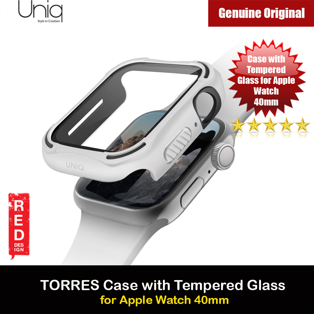 Picture of Uniq Torres Ultra Tough Hybrid Series Case with High Sensitivity Touch 9H Tempered Glass for Apple Watch 40mm (White) Apple Watch 40mm- Apple Watch 40mm Cases, Apple Watch 40mm Covers, iPad Cases and a wide selection of Apple Watch 40mm Accessories in Malaysia, Sabah, Sarawak and Singapore