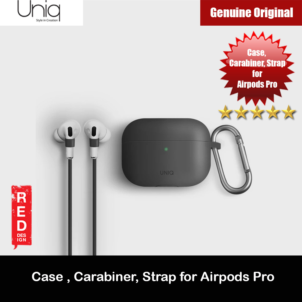 Picture of Uniq Vencer Drop Protection Liquid Silicone Soft Case with Aluminium Carabiner and Strap for Airpods Pro (Grey) Apple Airpods Pro- Apple Airpods Pro Cases, Apple Airpods Pro Covers, iPad Cases and a wide selection of Apple Airpods Pro Accessories in Malaysia, Sabah, Sarawak and Singapore