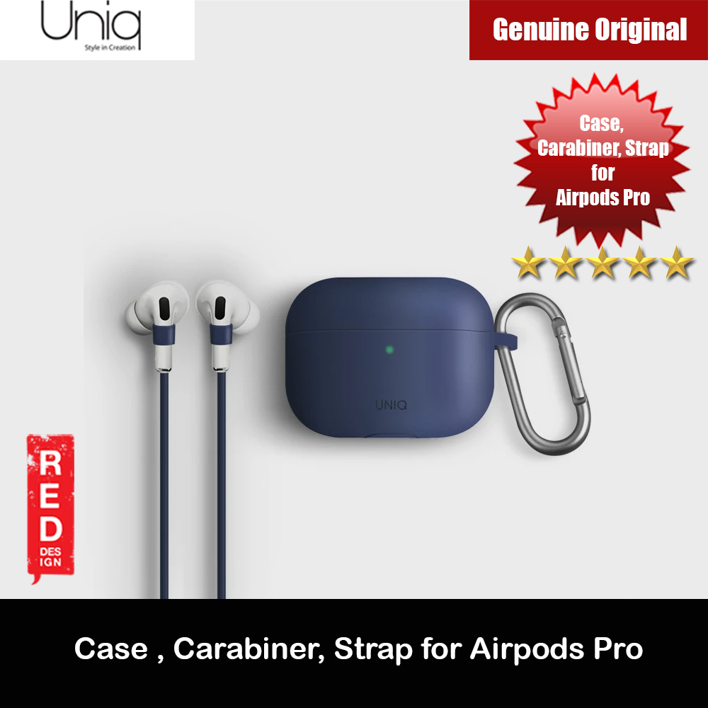 Picture of Uniq Vencer Drop Protection Liquid Silicone Soft Case with Aluminium Carabiner and Strap for Airpods Pro (Blue) Apple Airpods Pro- Apple Airpods Pro Cases, Apple Airpods Pro Covers, iPad Cases and a wide selection of Apple Airpods Pro Accessories in Malaysia, Sabah, Sarawak and Singapore