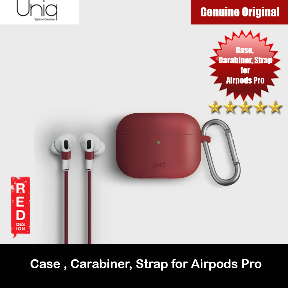 Picture of Uniq Vencer Drop Protection Liquid Silicone Soft Case with Aluminium Carabiner and Strap for Airpods Pro (Maroon) Apple Airpods Pro- Apple Airpods Pro Cases, Apple Airpods Pro Covers, iPad Cases and a wide selection of Apple Airpods Pro Accessories in Malaysia, Sabah, Sarawak and Singapore