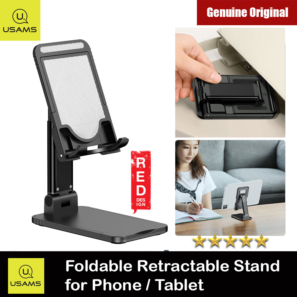 Picture of USAMS Aluminum and ABS Pocket Size Mini Foldable Retractable Desktop Phone Stand Holder Adjustable Alloy Portable Ergonomic Design Mobile Phone Anti-skid Pads Holder for Phone iPad Tablet up to 7.9 inches (Black) Red Design- Red Design Cases, Red Design Covers, iPad Cases and a wide selection of Red Design Accessories in Malaysia, Sabah, Sarawak and Singapore