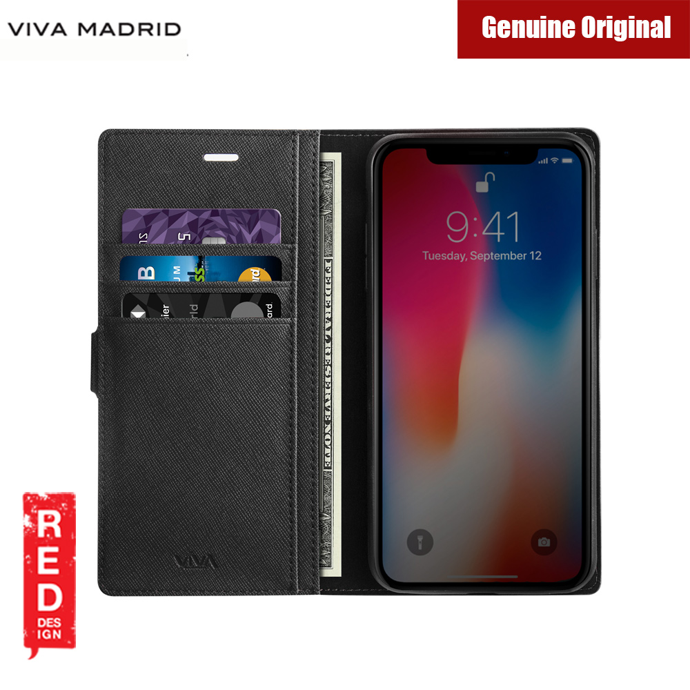 Picture of Apple iPhone XS Max Case | Viva Madrid HEXE Synthetic Leather with TPU Wallet Folio Case for Apple iPhone XS Max (Black)