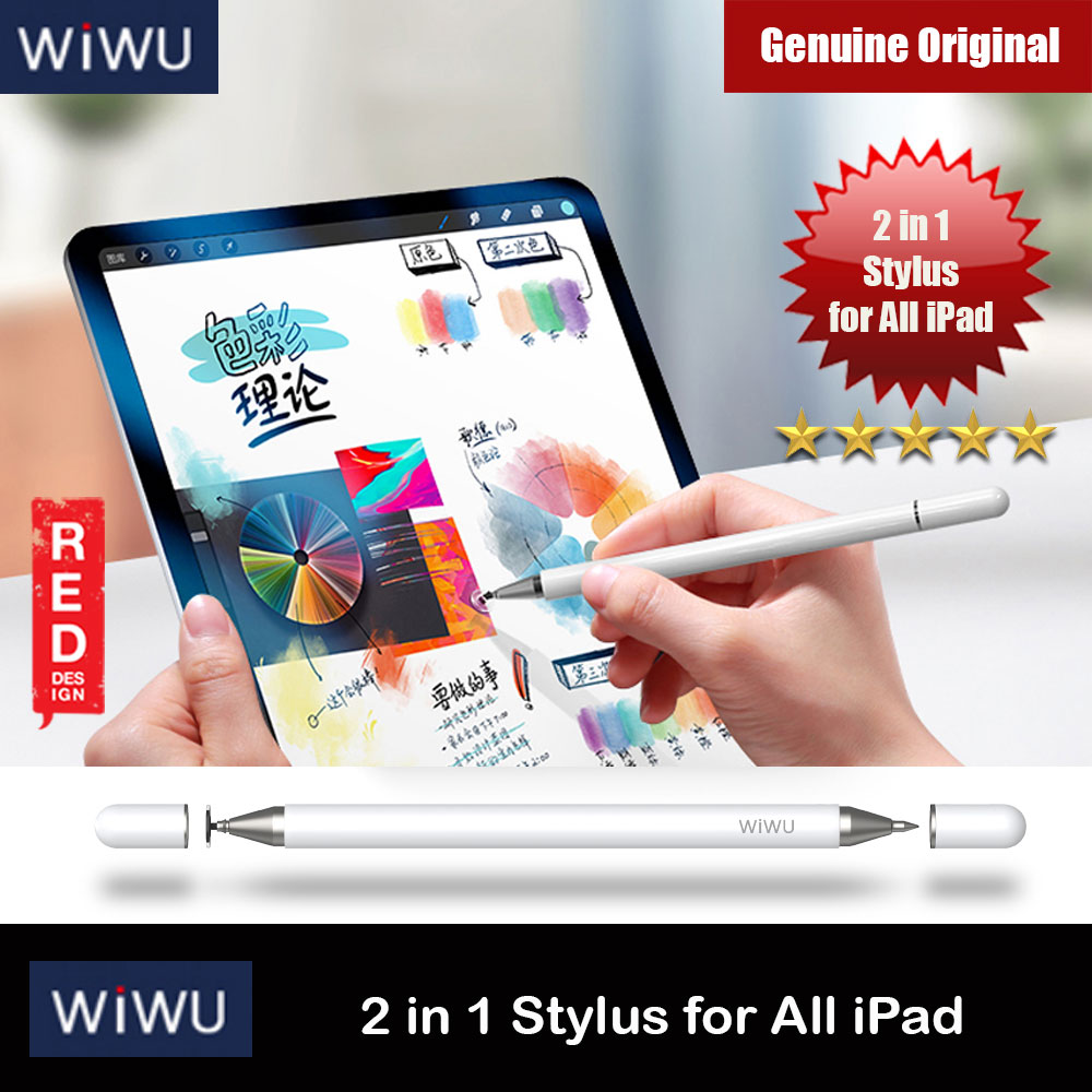 Picture of WIWU 2 in 1 Capacitive Touch Pen Stylus for iPads iPad Pro Tablets (White) Red Design- Red Design Cases, Red Design Covers, iPad Cases and a wide selection of Red Design Accessories in Malaysia, Sabah, Sarawak and Singapore