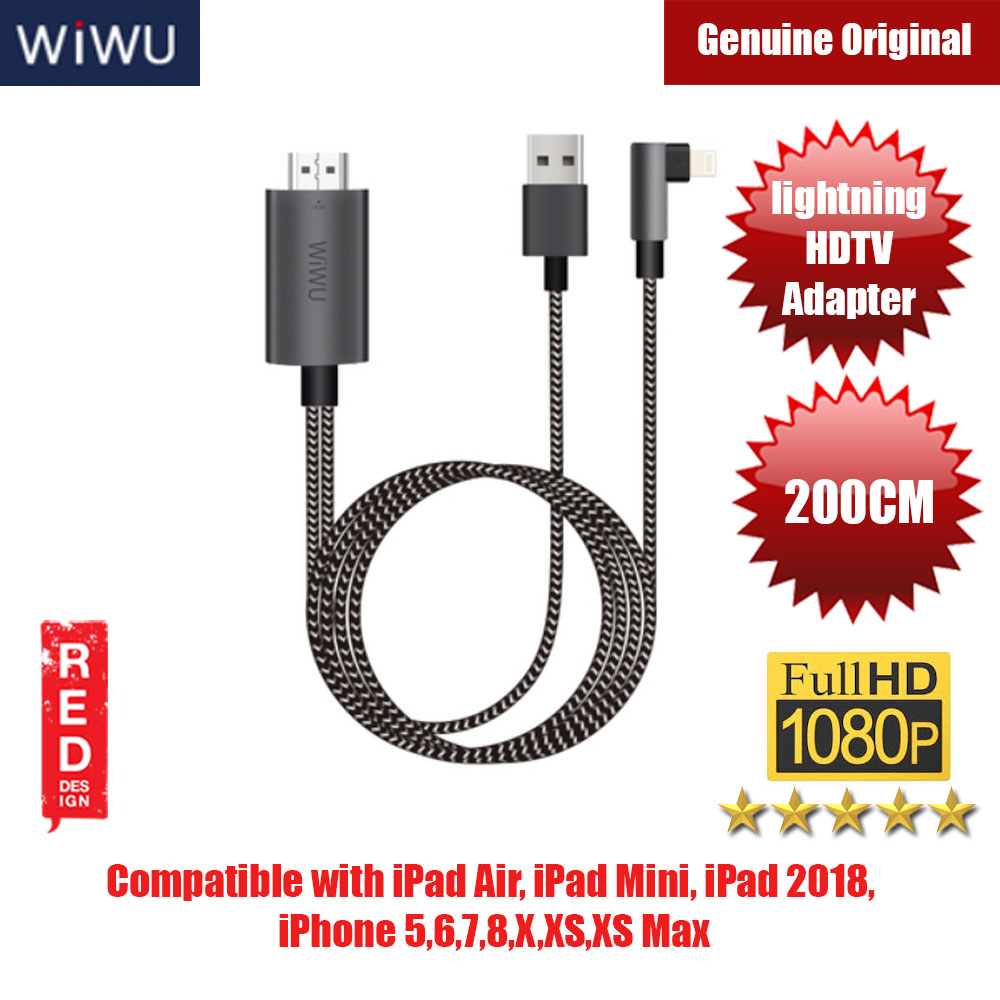 Picture of WIWU Lightning to HDMI USB 2.0 Ultra HD 1080P 4k Charging HDTV Video Cable Adapter Converter for iPhone XS, iPhone Series, iPad Series Red Design- Red Design Cases, Red Design Covers, iPad Cases and a wide selection of Red Design Accessories in Malaysia, Sabah, Sarawak and Singapore