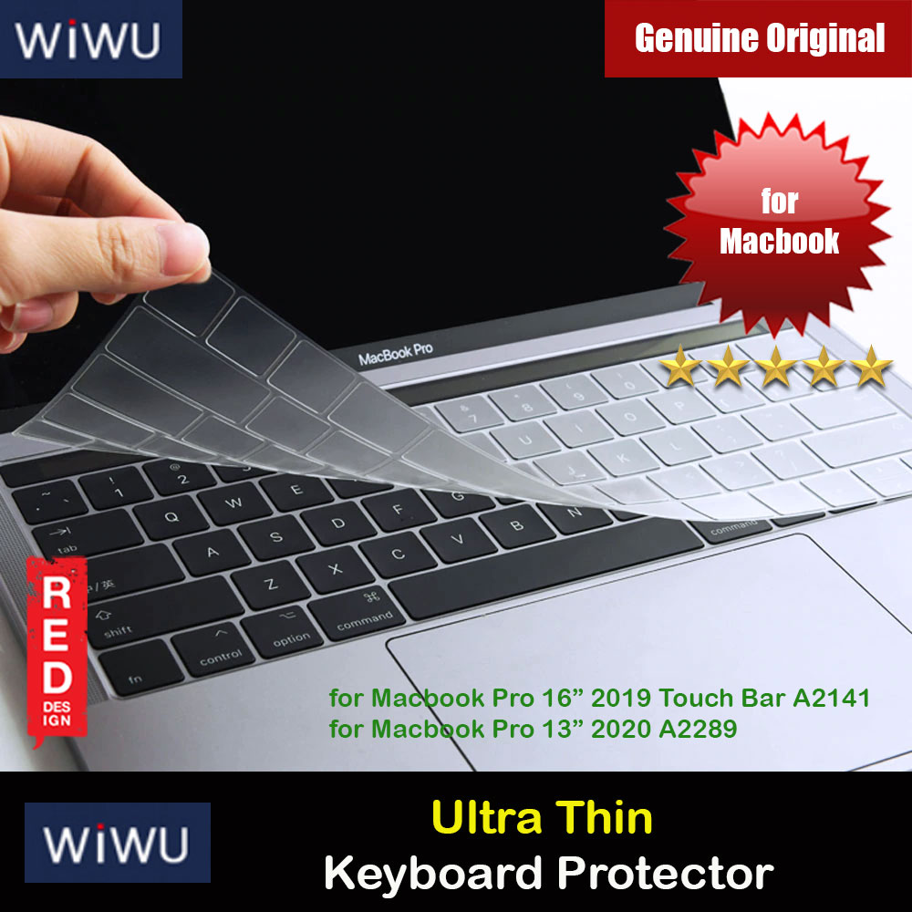 "Picture of WIWU High Transparency Ultra Thin Keyboard Cover Protector for Macbook Pro 13"" 2020 A2289 A2251 Macbook Pro 16"" Touch Bar 2019 A2141 Red Design- Red Design Cases, Red Design Covers, iPad Cases and a wide selection of Red Design Accessories in Malaysia, Sabah, Sarawak and Singapore"